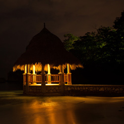 Large gazebo at night